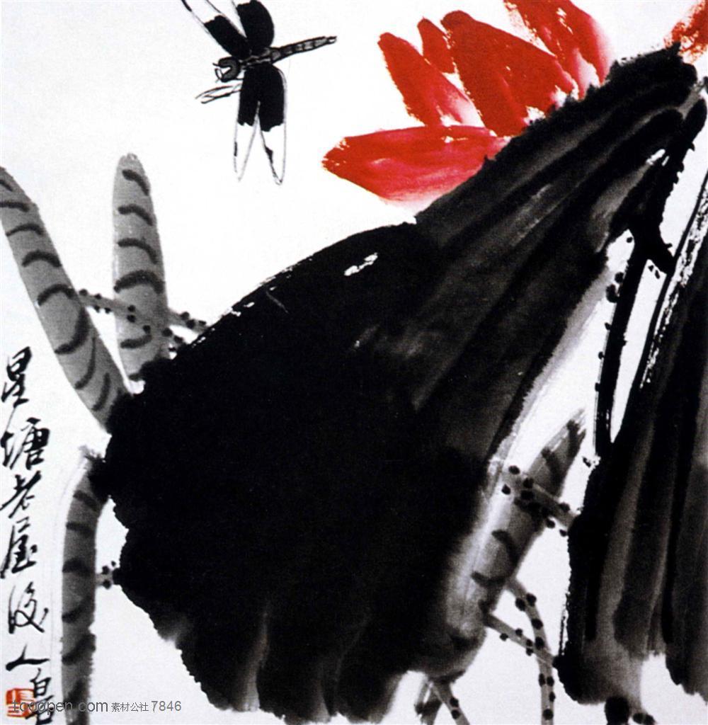 国画名家作品-齐白石的墨荷蜻蜓