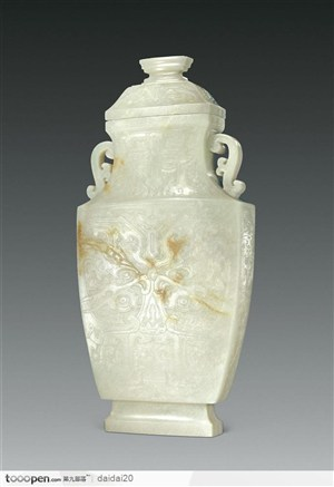 清代青白玉留皮雕兽面纹瓶图片