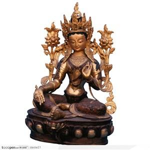 传统工艺品镀金的佛像图片