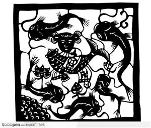 剪纸花纹系列传统民间儿童鲤鱼花纹矢量图