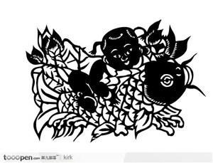 剪纸花纹系列传统民间娃娃鲤鱼矢量图