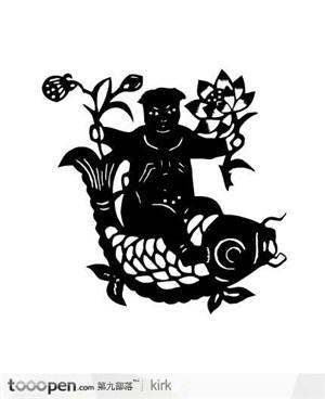 剪纸花纹系列传统娃娃鲤鱼花纹矢量图