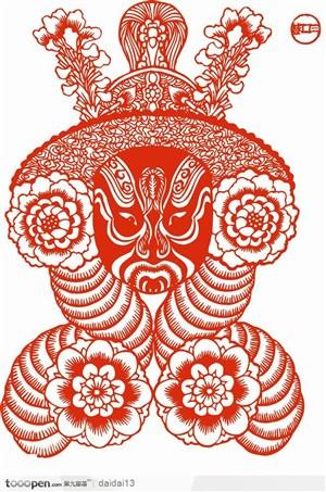 面恶的京剧的脸谱剪纸