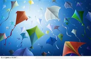 蓝色海洋中飞舞的彩色风筝