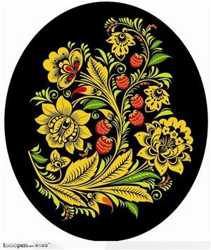 传统装饰草莓花卉矢量素材