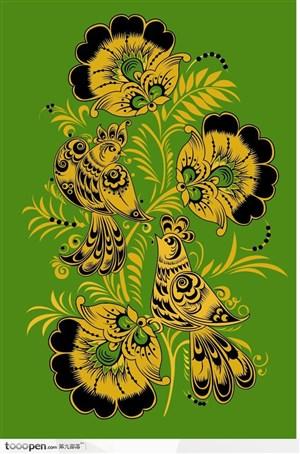 可爱小鸟传统装饰性矢量素材