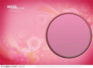 摄影背景模块-粉色系列圆形边框和粉色水粉花卉