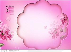 摄影背景模块-粉色系列梅花边框韩式水粉花卉