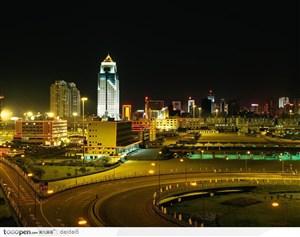 深圳城市夜景-快速的车流景色