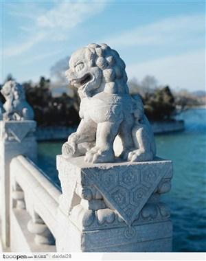 颐和园十七孔桥威武的石狮侧面图片