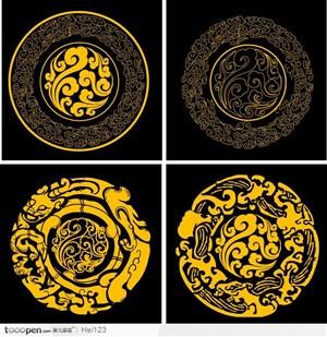 中国传统吉祥花纹底纹--团花 云纹和兽纹