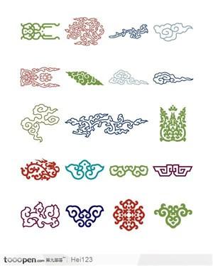 中国古典吉祥喜庆花边底纹 云纹图案
