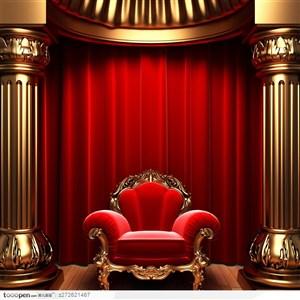 华丽欧式大装饰框和舞台帷幔 红色沙发家具图片