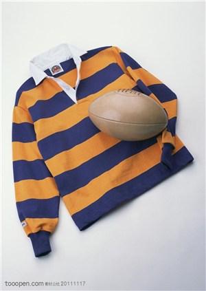 球类运动-运动服和橄榄球特写