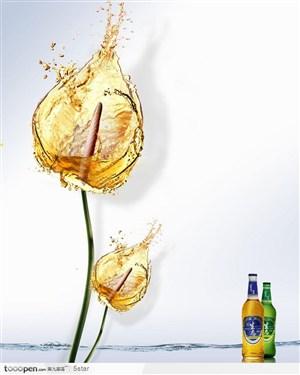 啤酒创意广告--啤酒水花拼成的花朵