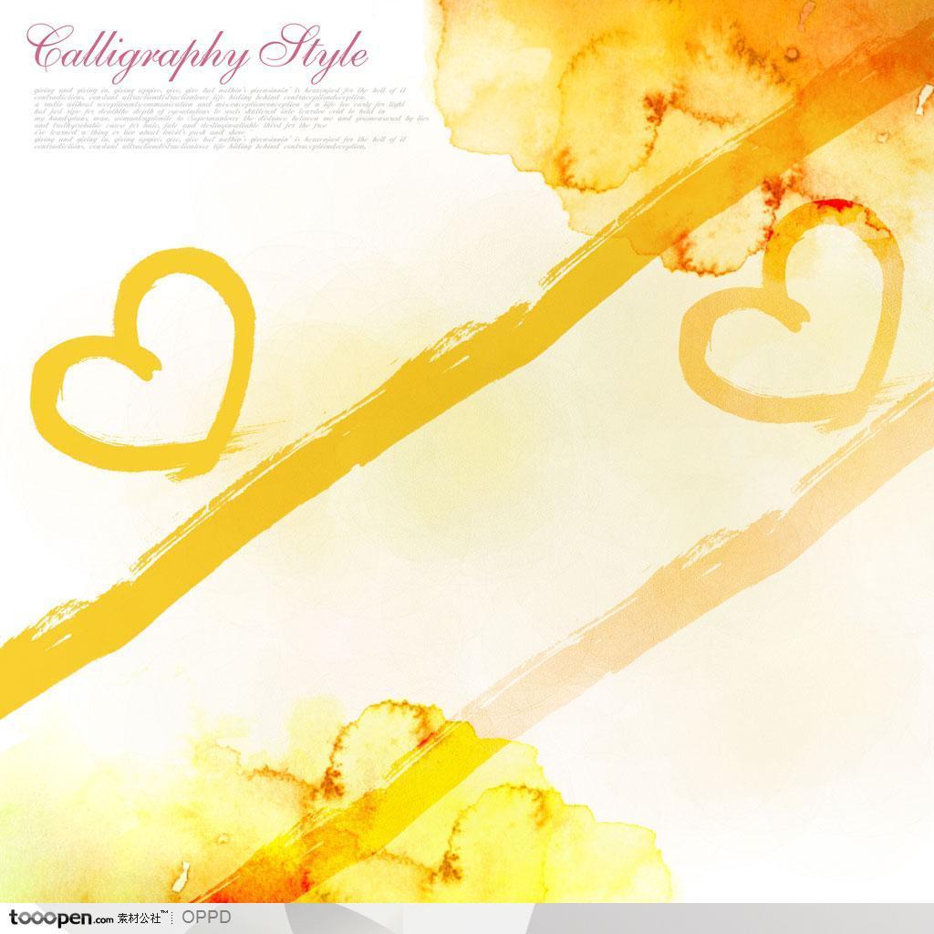 情人节背景装饰-手绘水彩水墨肌理纹样描墨迹渲染水粉心形