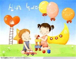 手绘插画-卡通漫画童年儿童展板素材-积木游戏的小朋友