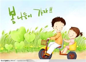 手绘插画-卡通漫画童年儿童展板素材-双人自行车