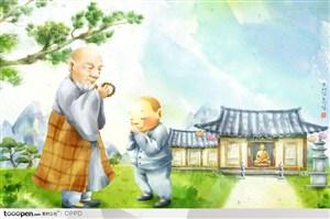 手绘水彩插画佛教人物-韩国寺庙前行礼的方丈和小和尚