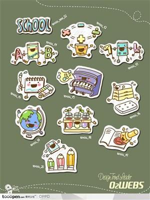 手绘水彩插画商业模板图标-卡通儿童教育课程网店购物图标