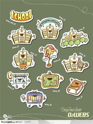 手绘水彩插画商业模板图标-卡通儿童教育学校网店购物图标