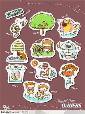 手绘水彩插画商业模板图标-卡通儿童夏天网店购物图标