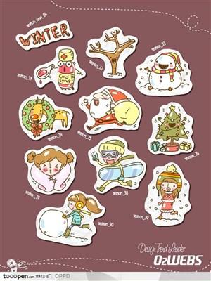 手绘水彩插画商业模板图标-卡通儿童冬天网店购物图标