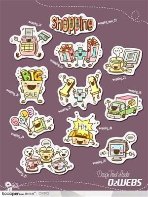 手绘水彩插画商业模板图标-卡通儿童春天网店购物图标