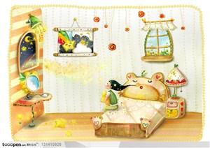 手绘卡通素材-手绘儿童房里坐在床上的小女孩