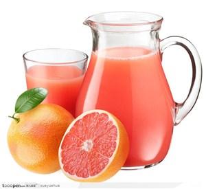 新鲜西柚水果果汁高清图片