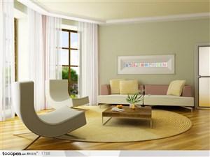 简欧家居装修-浅色色系客厅沙发茶几落地窗