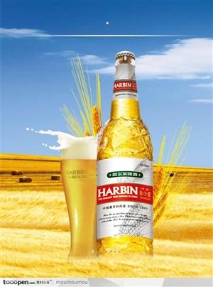 哈尔滨啤酒广告宣传海报-麦田麦穗